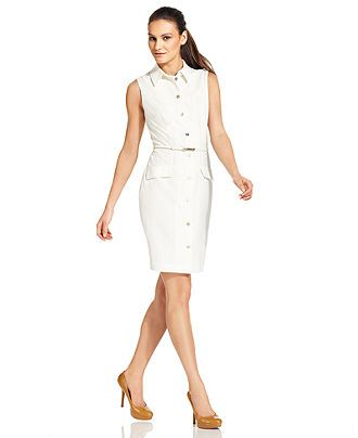 129 Calvin Klein Dress Sleeveless Belted Oned Shirtdress Womens Suits Suit Separates