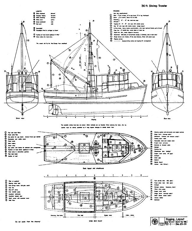 trawler yacht diagram blueprint shrim trawler 36 ft | ship in 2019 | trawler ...