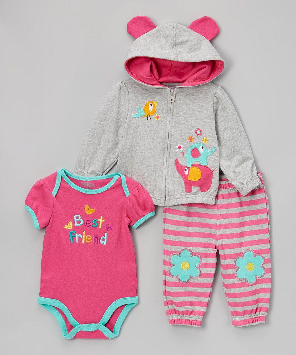 Love this Heather Gray & Sugar Plum 'Best Friend' Bodysuit Set - Infant by Nûby on #zulily! #zulilyfinds