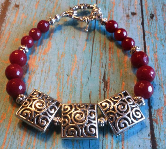 Marsala and Silver Filigree  Beaded Bracelet by DungleBees on Etsy