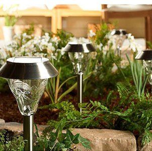 Westinghouse Set Of 8 Torrence Premium Glass High Output Bright Led Solar Path And Garden Light Set Solar Powered Garden Lights Solar Lights Garden Lighting
