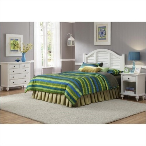 Home Styles Bermuda 3 Piece Bedroom Set in White-Queen, Brushed White