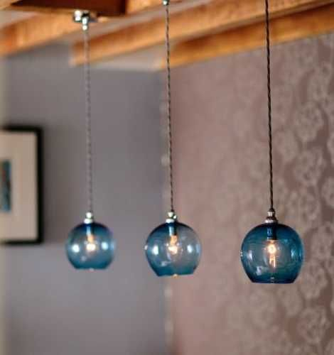 Romantic interior decorating with handmade colored glass lighting blue colored pendant lights mozeypictures Gallery
