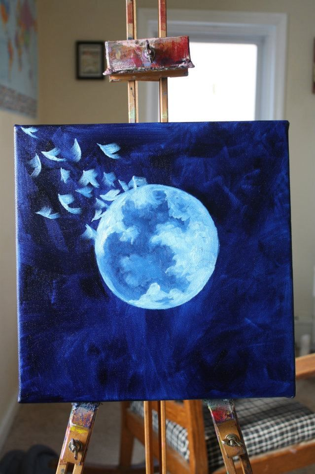 Oil of Moon with Birds Flying