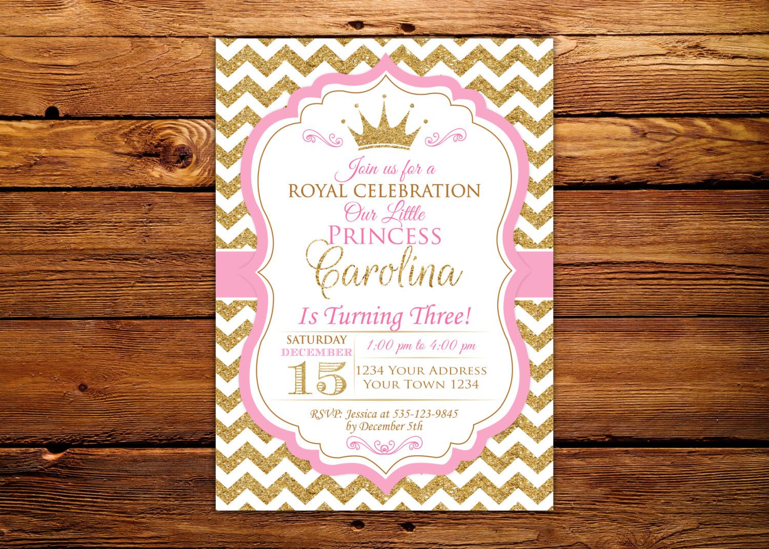 Princess Invitation Baby Girl First Birthday Invitation Girl 1st