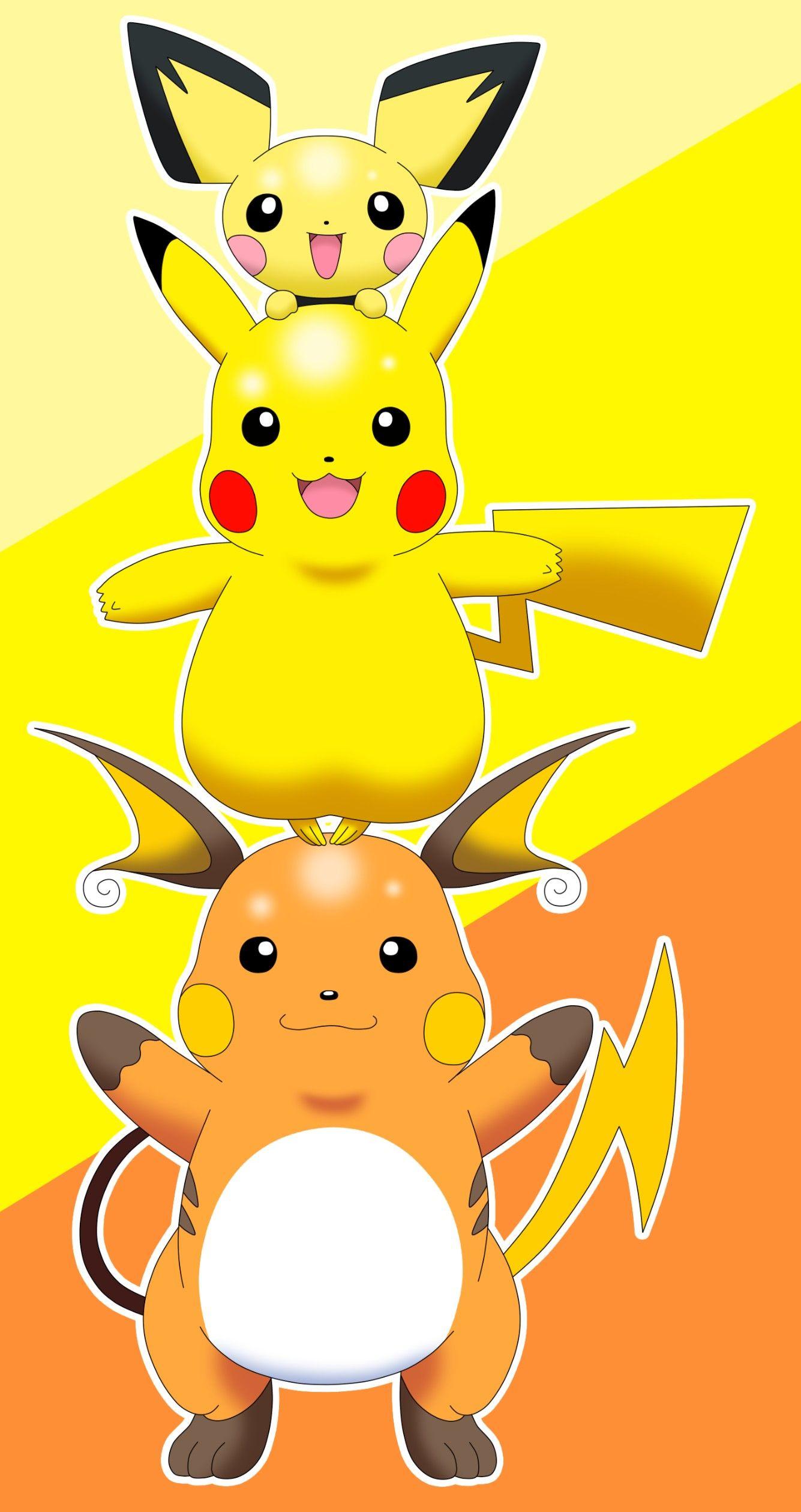 Pichu Pikachu Raichu Electric Totem Pokemon Pikachu Raichu