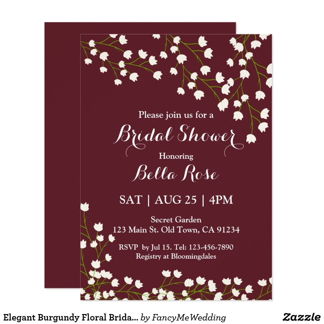 Elegant Burgundy Floral Bridal Shower Invitations | Pinterest ...