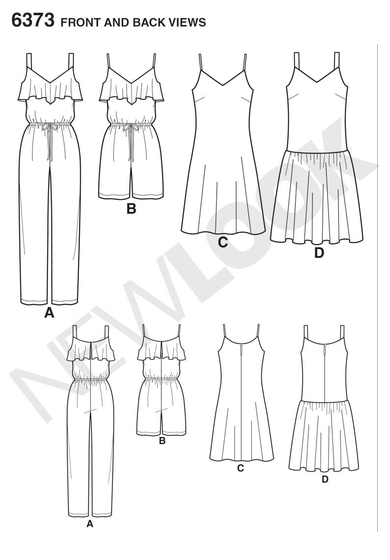 Size A 8-10-12-14-16-18-20 New Look 6373 Misses Jumpsuit or Romper and Dresses Sewing Kit