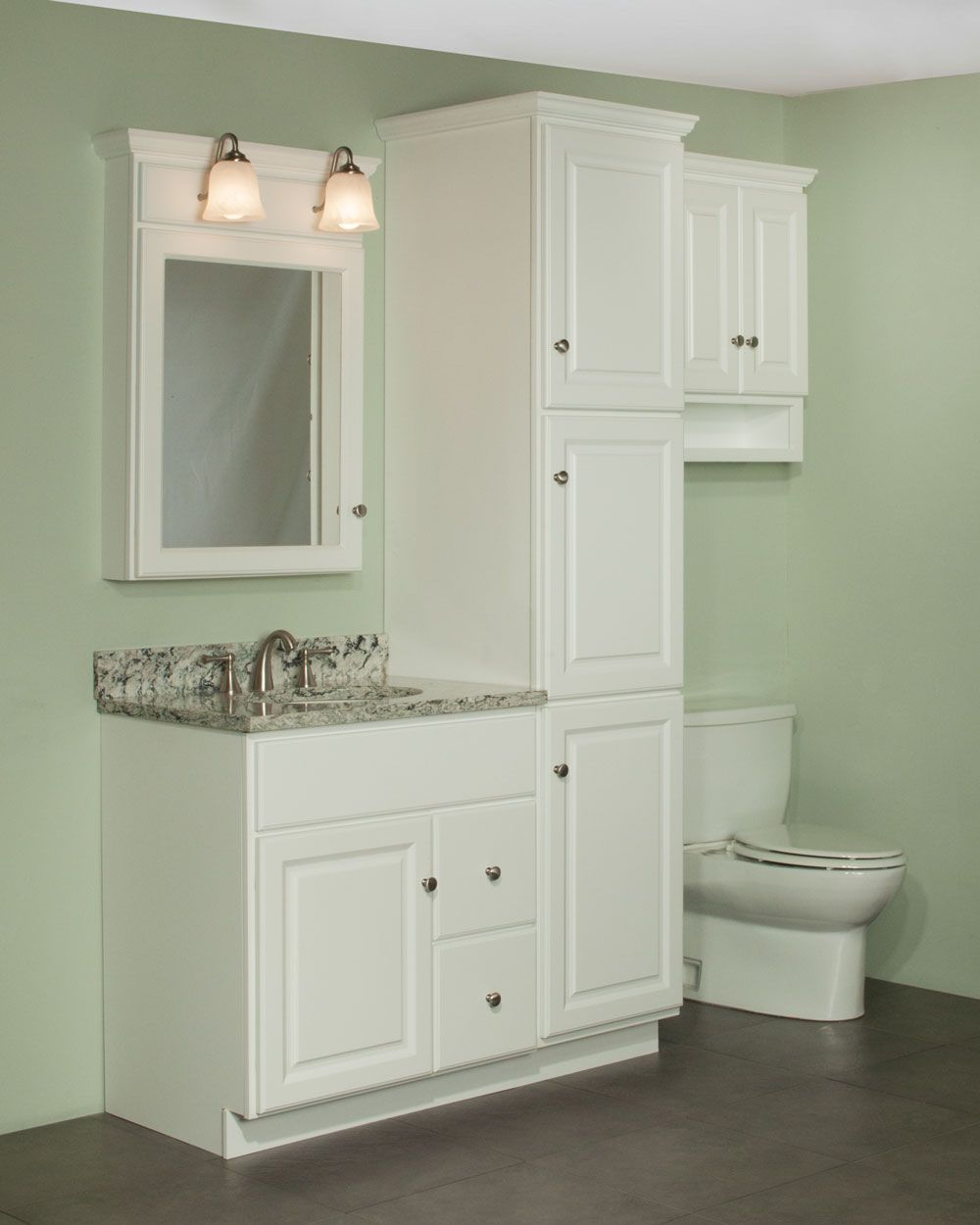 30 quentin vanity and linen cabinet ensemble the newport for Bathroom linen cabinets