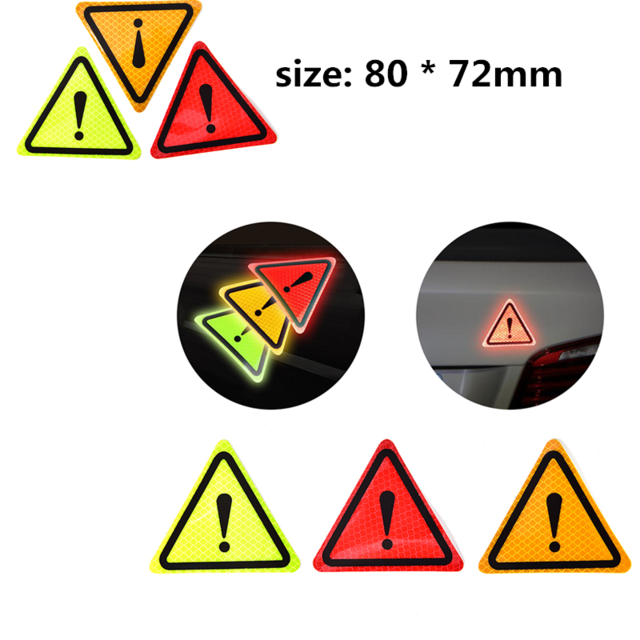 80 72mm Diy Triangle Warning Label Reflective Warning Sticker Reflective Stickers Car Bodywork Decorative Paster Motorcycle Re Reflective Car Stickers Triangle