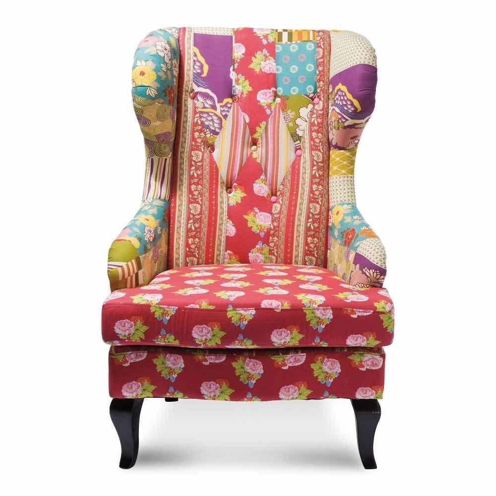 kare design ohrensessel patchwork webstoff baumwolle sessel birkenholz rot neu patchwork. Black Bedroom Furniture Sets. Home Design Ideas