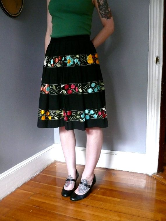 Vintage 1950s Embroidered Skirt 50s Mexican Skirt Black