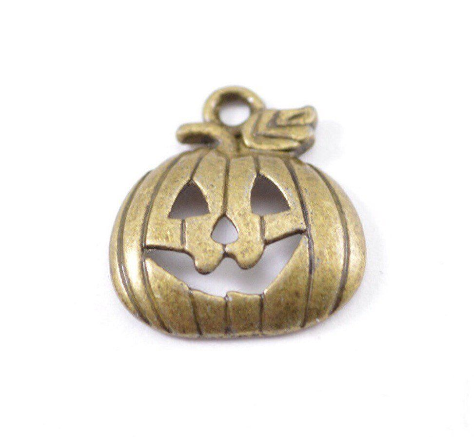 Pcs antique bronze jack oulantern charms mm x mm pumpkin