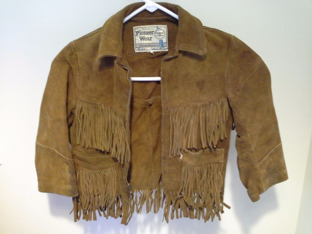 Boys Suede Leather Pioneer Wear Jacket Fringe Western