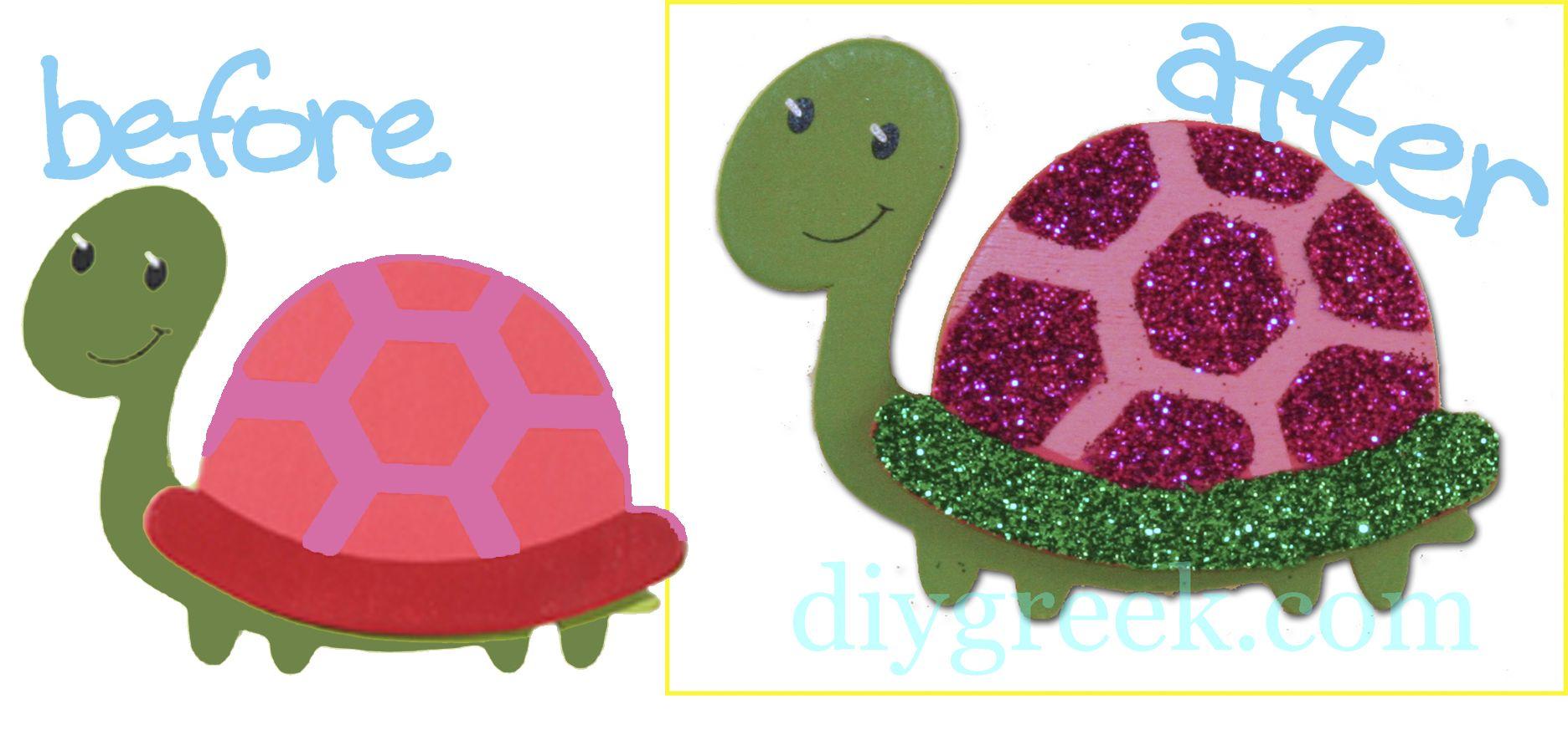 Glitter Turtle Symbol For Delta Zeta Sorority Craft Little Sister