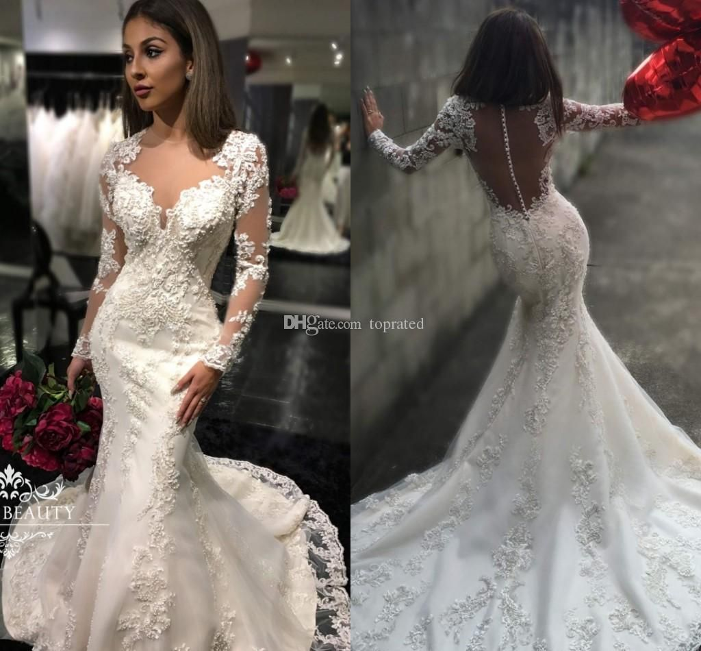 New design long sleeve wedding dresses vintage lace illusion neck