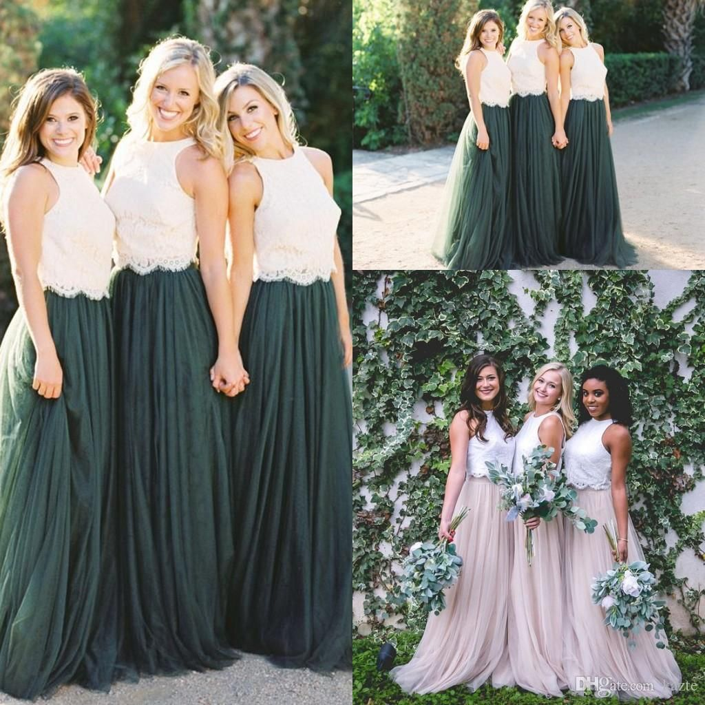 Two tone lace crop country long bridesmaid dresses hunter green
