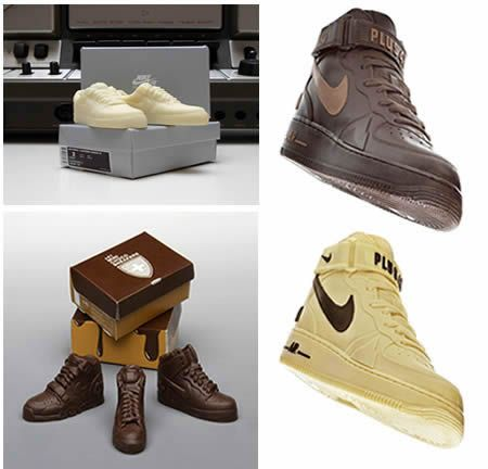Sweet Jesus bring on the chocolate in style! For the 25th anniversary of Nike's Air Force 1, designers from +41 created these delicious looking wonderful miniature and large size milk and white chocolate shoes...sweet and great minds think alike!