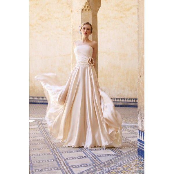 Chiffon Strapless Full Length Wedding Dress - Star Bridal Apparel, #strapless, #full-length, #wedding, #dress, #beach, #flower, #beach, #pink