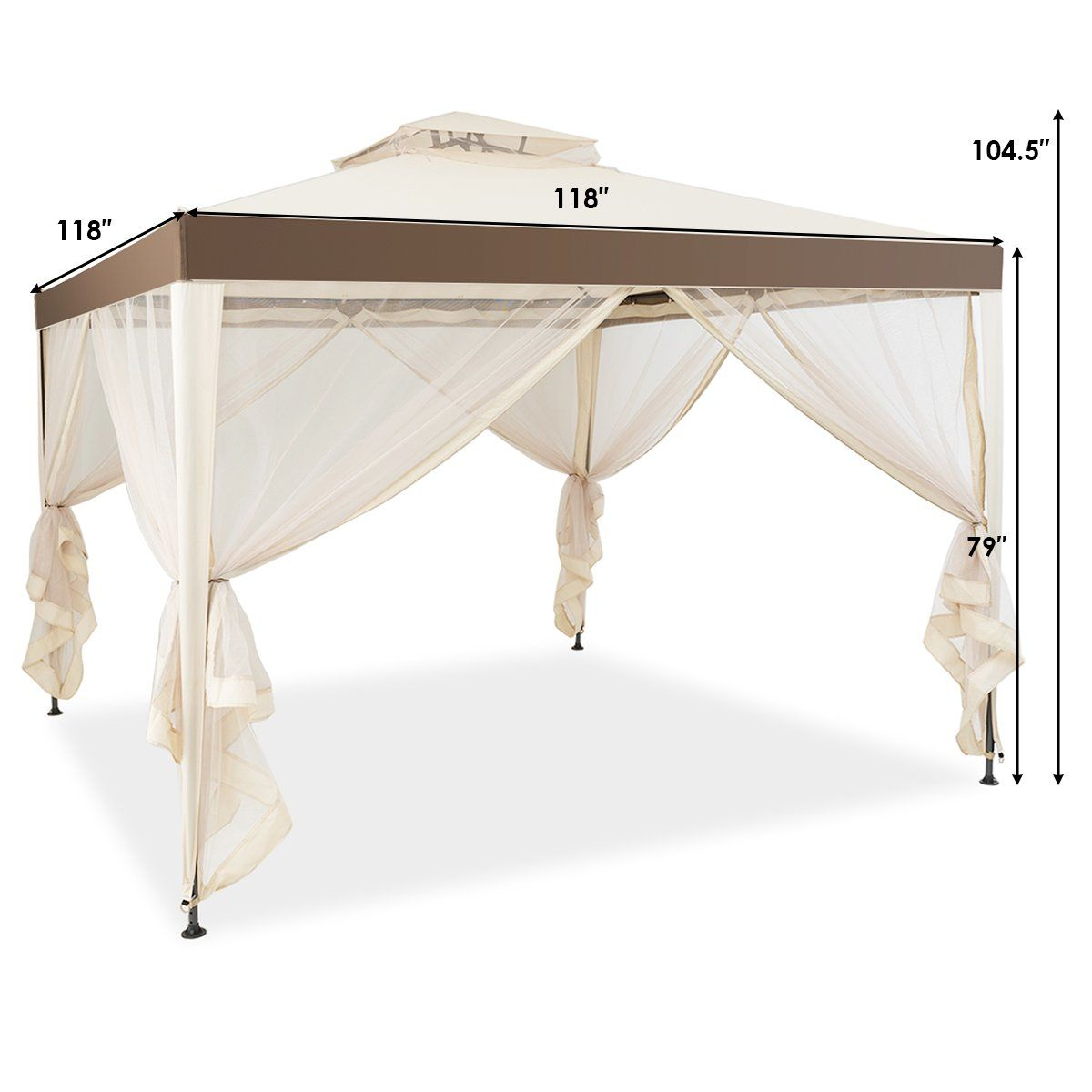 10 X 10 2 Tier Canopy Gazebo Tent Outdoor Netting Picnic Party Sun Shade Walmart Com In 2020 Gazebo Tent Gazebo Canopy