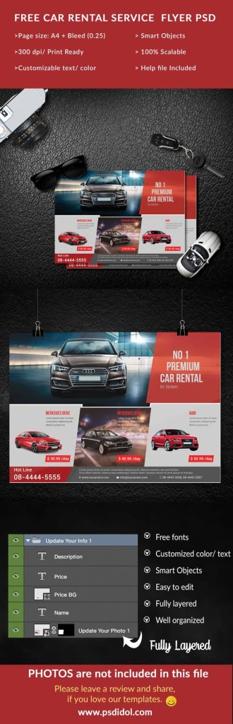 Download our free car rental flyer psd file to make a good - advertisement flyer template