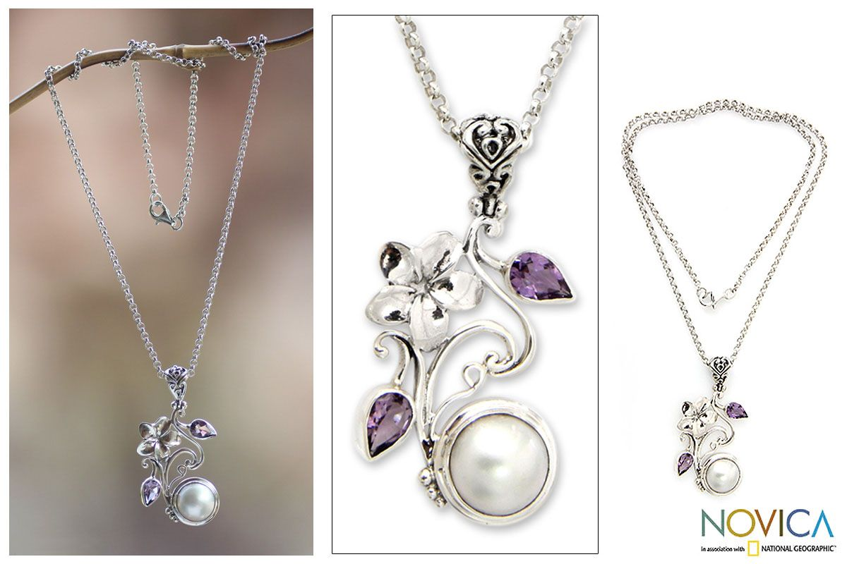 Pearl & amethyst flower necklace, 'Bali Garden' at The Animal Rescue Site