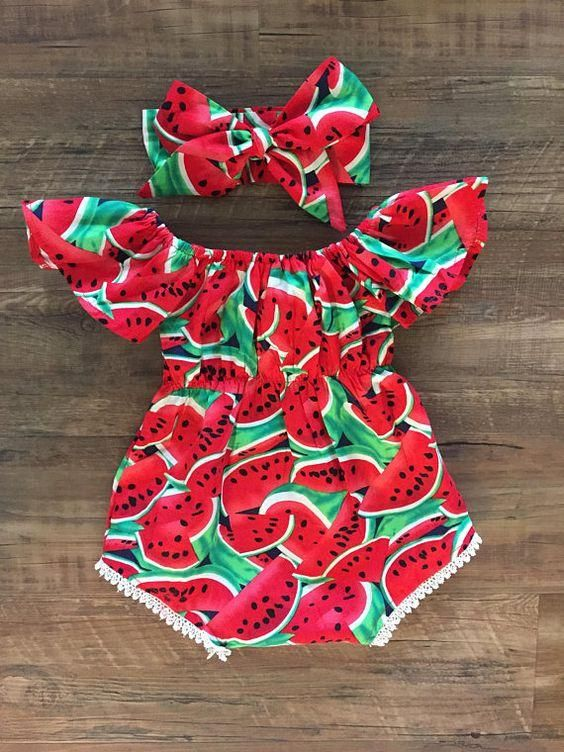 Toddler Baby Girls Watermelon Bow-knot Romper Bodysuit Jumpsuit Outfits Summer