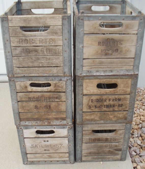 Vintage old wood and metal milk crate stackable wine by for Where can i buy wooden milk crates