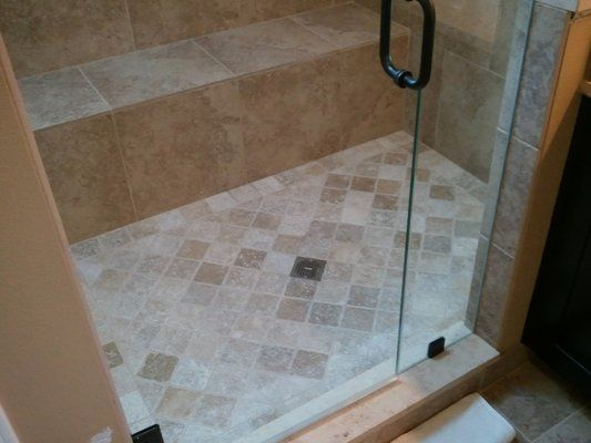 master bath remodel, 3/8 heavy glass shower door, 4x4 tumbled