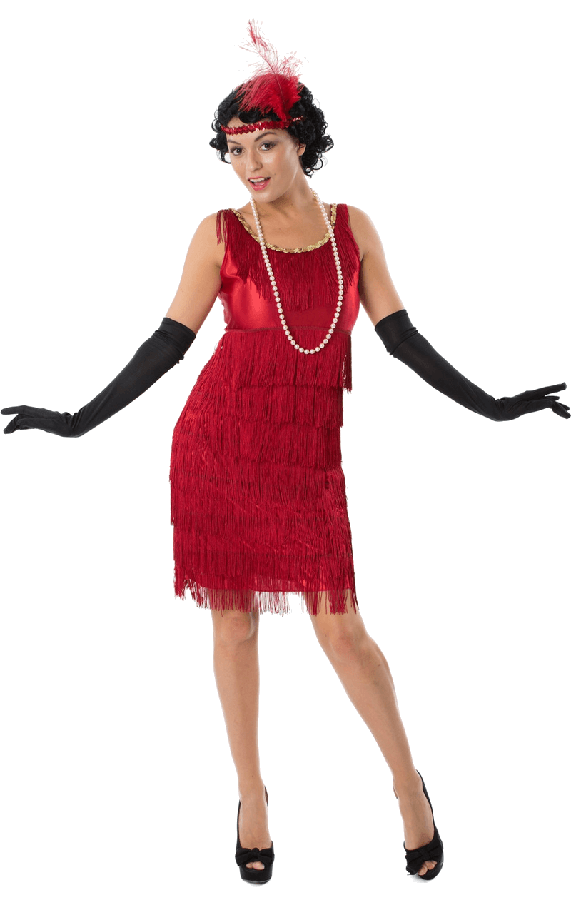9c422238dde The Adult 1920s Red Flapper Costume will swish and sway when you re shakin   it whilst doing the Charleston! Buy now on Joke.co.uk.