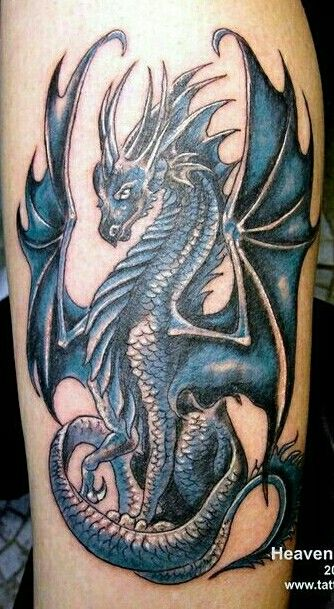 Photo of Very Nice. Dragon Tattoo in Blue.