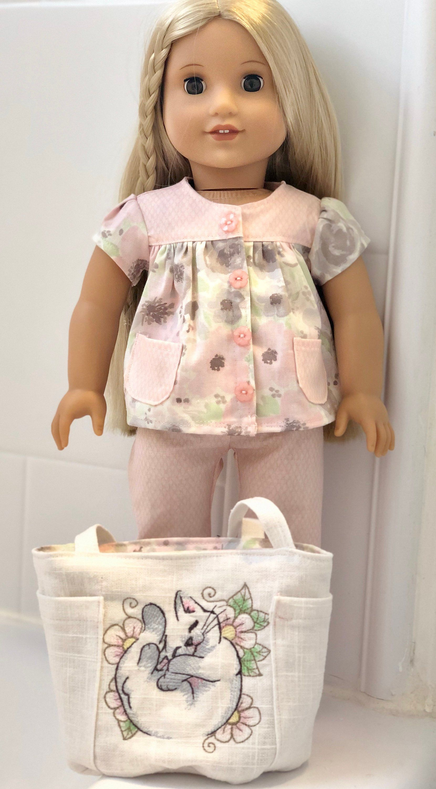 18 Girl Doll Clothes, Spring and Summer Pajamas and Embroidered Overnight Tote Bag made to fit dolls like American girl dolls #dollclothes