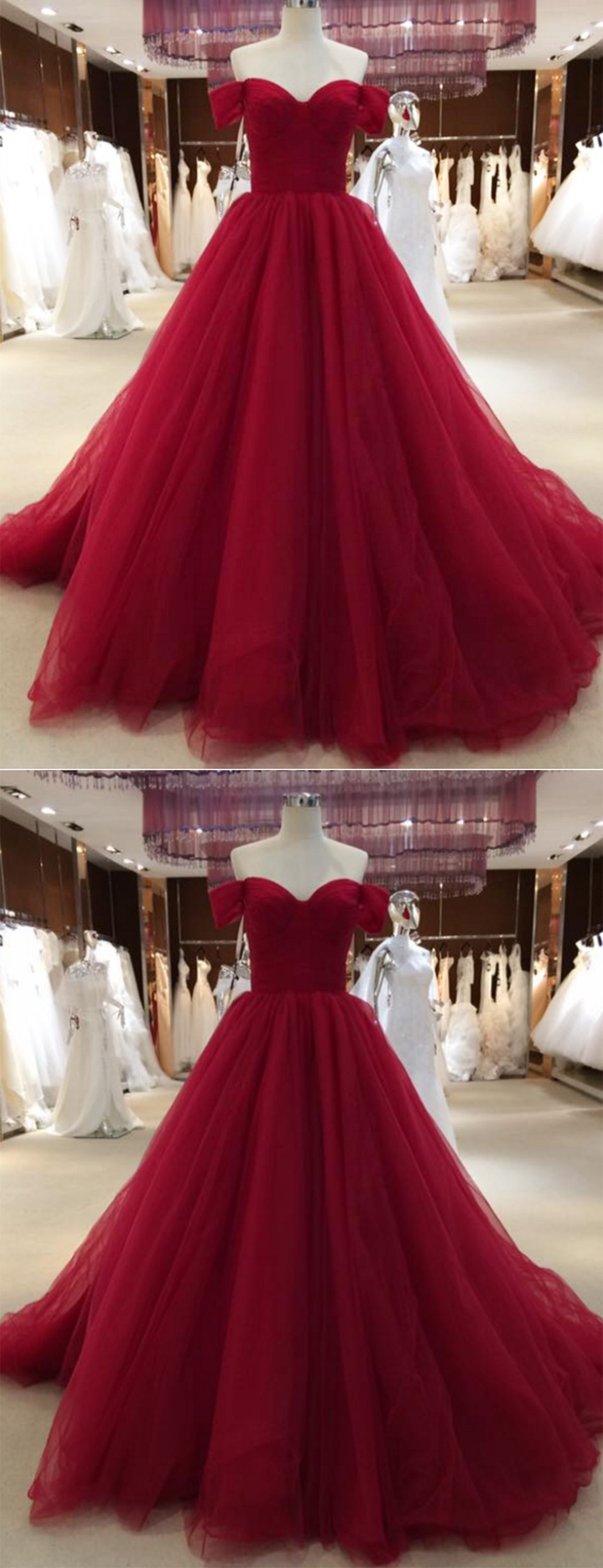 Simple burgundy tulle long sweetheart neckline evening dress with