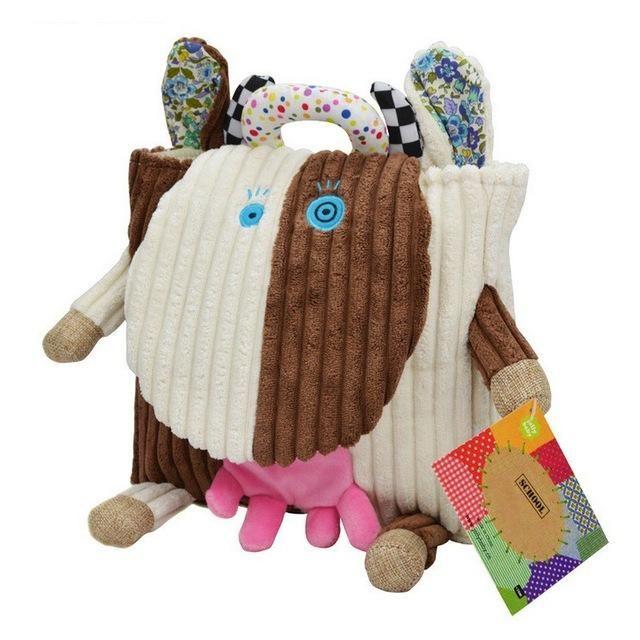 Children s Plush School Bags Kids Toy Backpacks 25cm Preschool Girls Boys  Zoo Pack Cute Cartoon Animal Owl Cow Frog Monkey Lion 80b584640242b