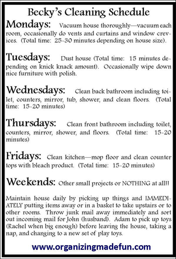 Easy Schedule To Keep House Clean Cleaning Hacks