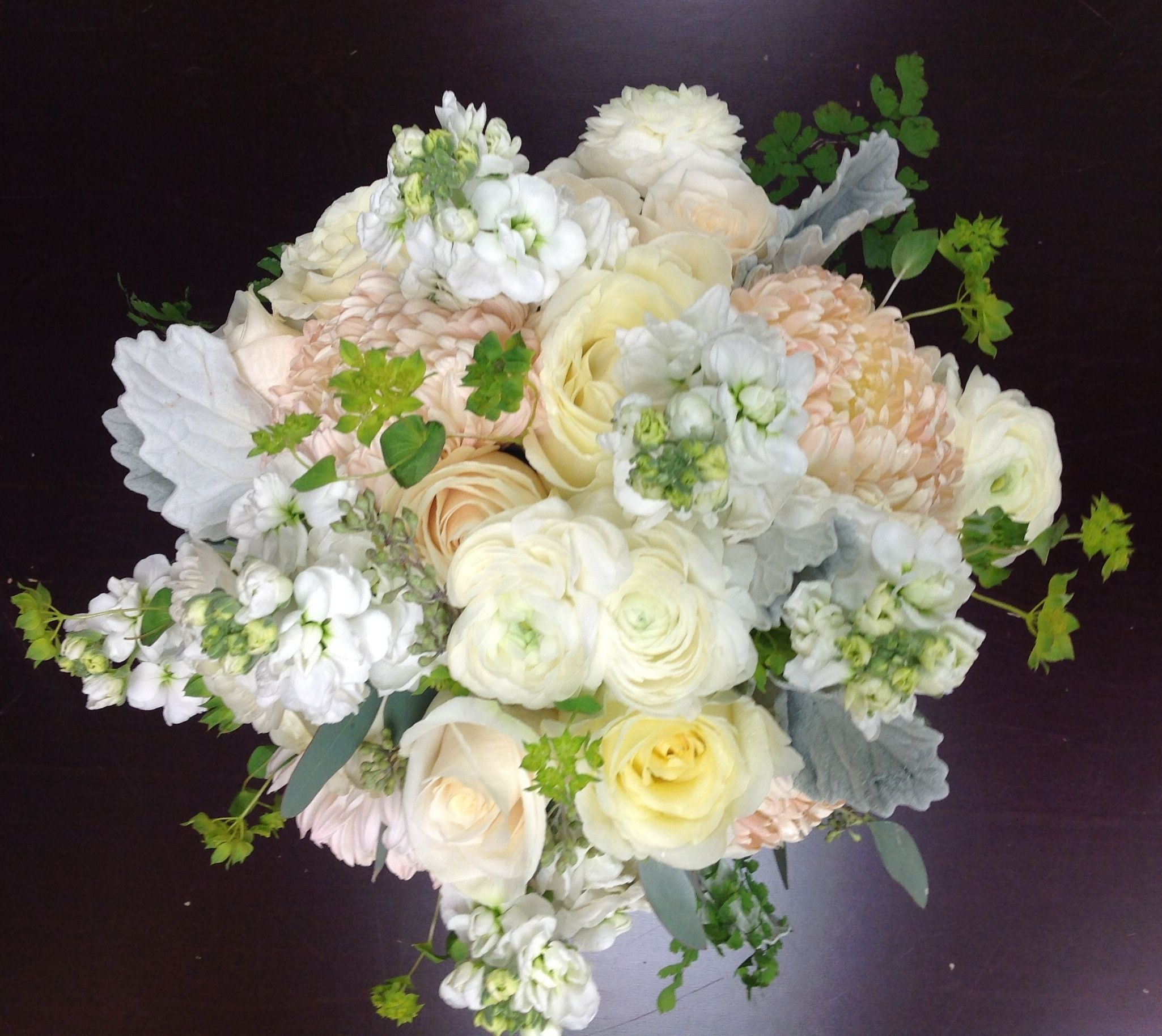 bridal bouquet with hydrangea stock roses garden roses spray roses ranunculus - Garden Rose And Hydrangea Bouquet