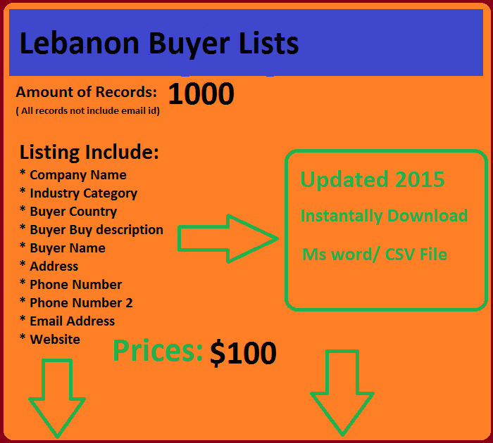 Lebanon Buyers List | buy email database  | Email list
