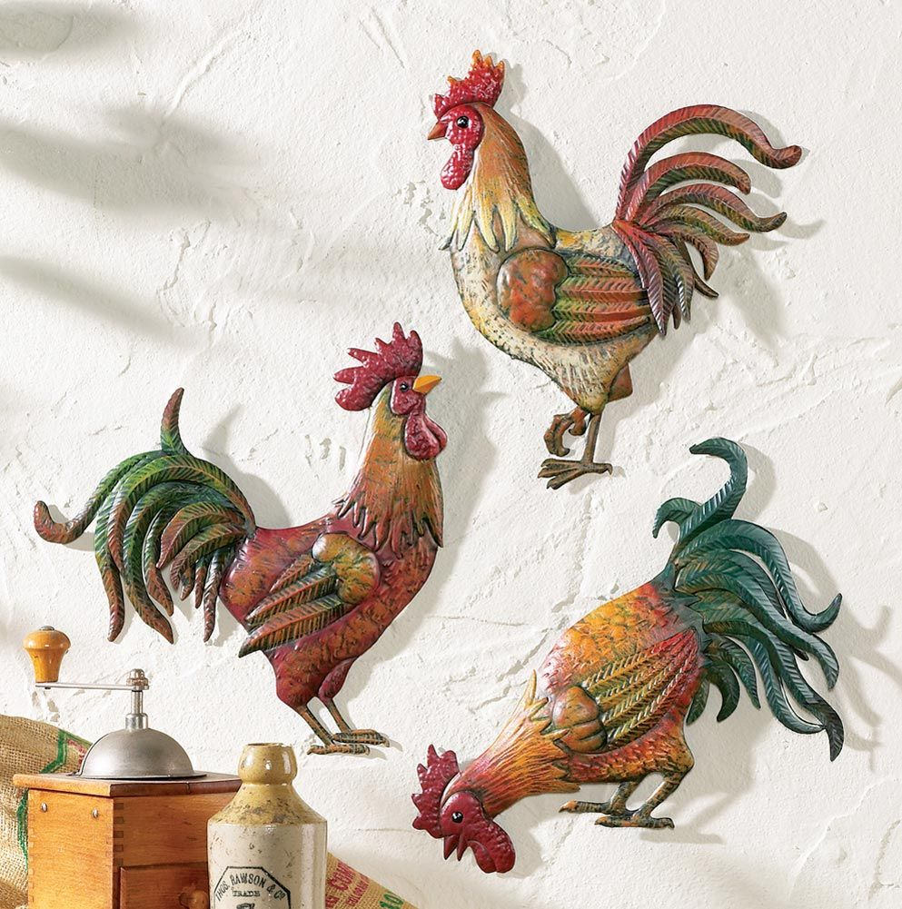 Country Kitchen Rooster Theme Decor Set Of 3 Metal Wall Art