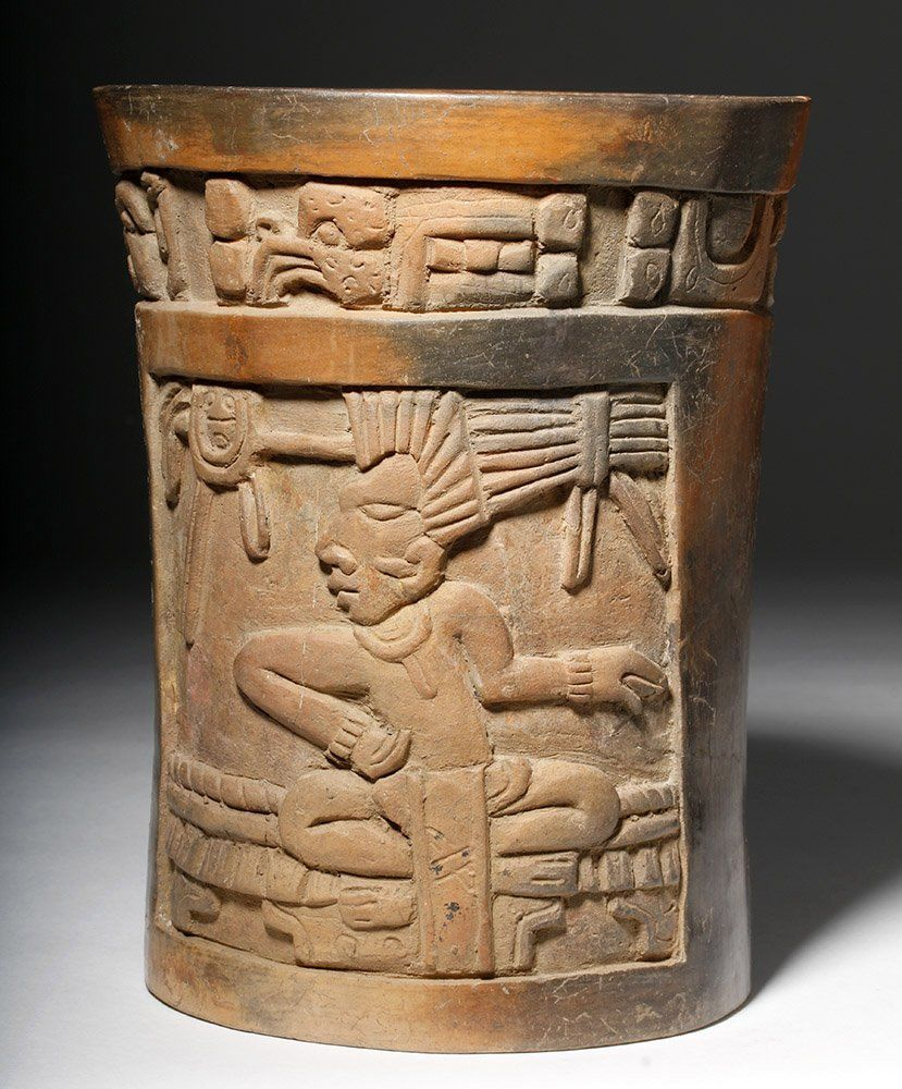 Wonderful mayan carved pottery cylinder glyphs on mayan carved