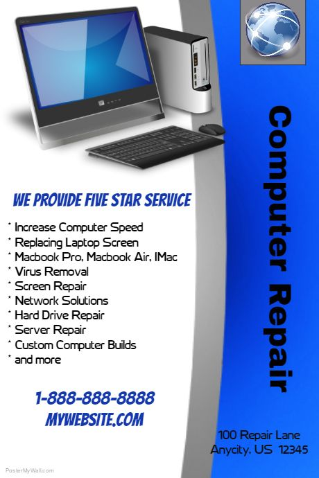 Poster Template On Postermywall Computer Repair Custom Computer Flyer Template