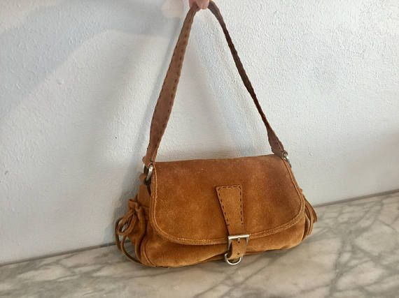 Vintage Prada Italy Brown Suede Purse Open Sch Bag Handbags Purses And