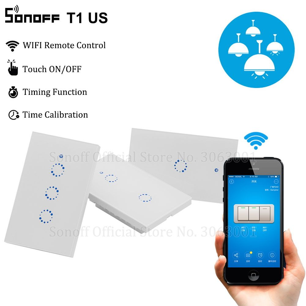 Sonoff T1 Us Smart Wifi Wall Light Switch 1 2 3 Gang Touch Wifi