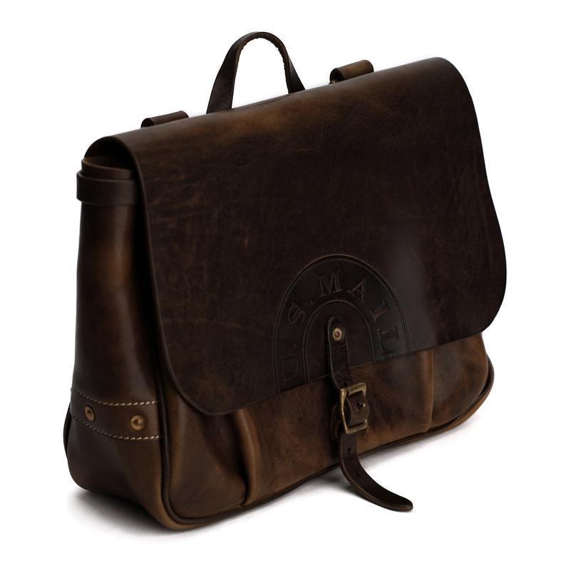 Genuine Leather Mail Bag School Bag Vintage Messenger Bag
