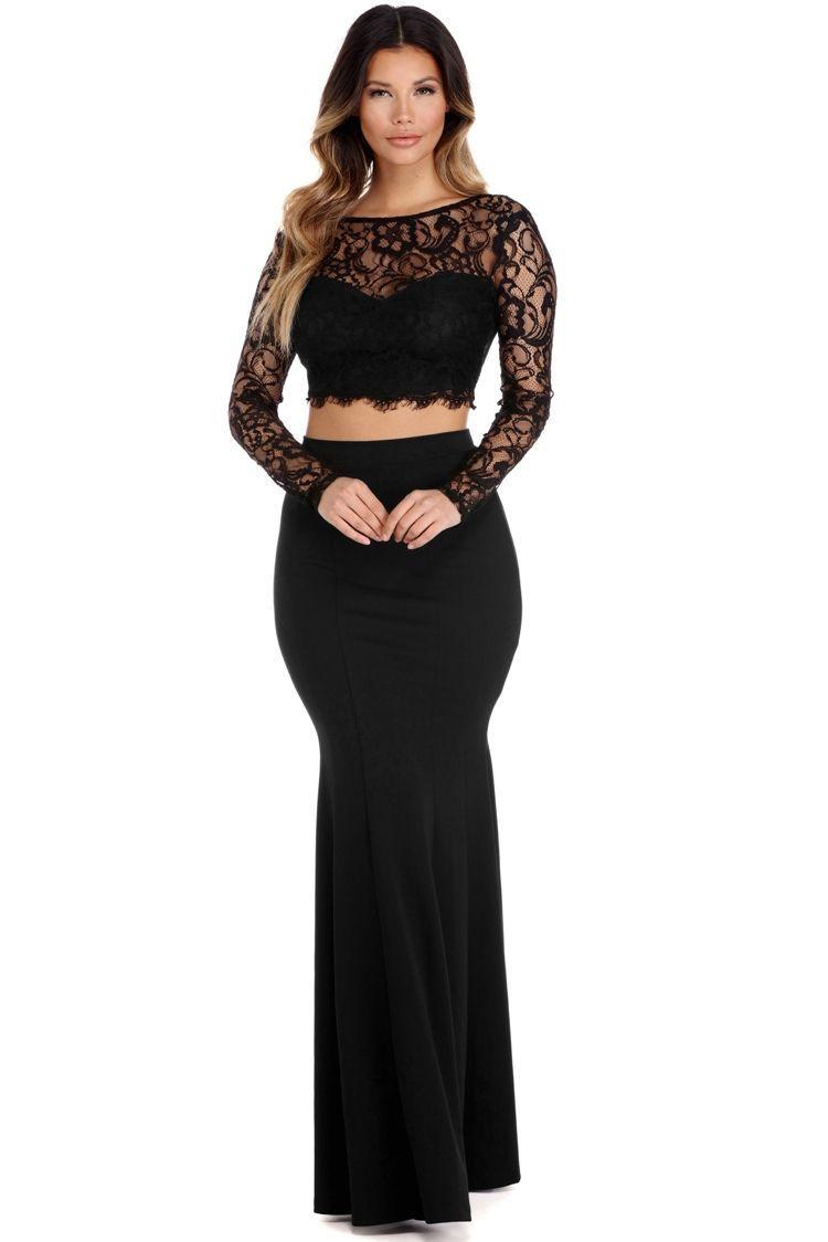 Cara black two piece lace dress windsorcloud sexy dresses