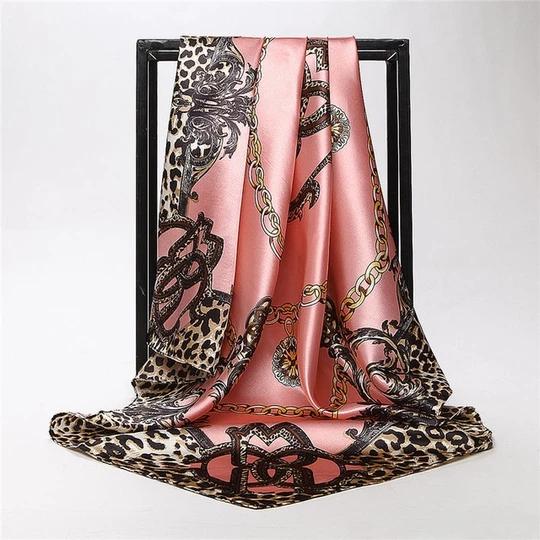 Ladies Floral Bandana Square Head Neck Scarf Wrap Satin Silk 90cm Vintage Shawl