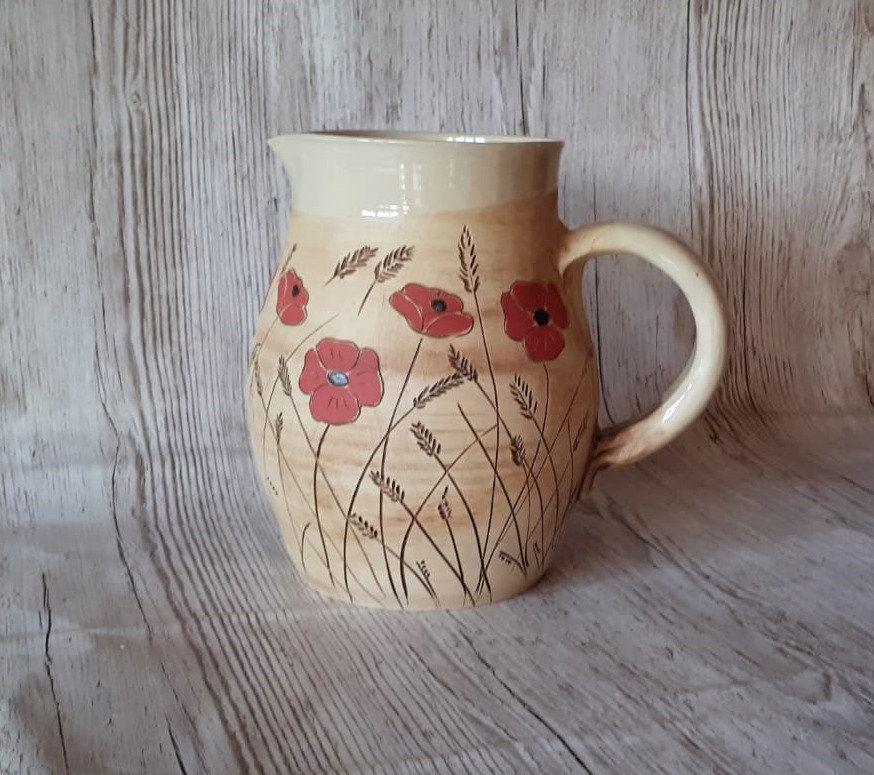 Krug Mit Mohnblumen Steinzeug Porzellan 1 5 L