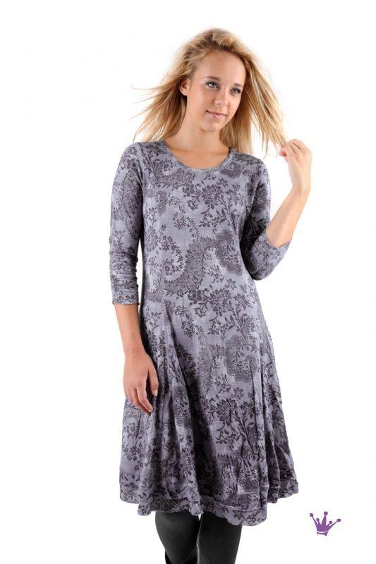 Simclan Kleid mit Druck in blau-schiefer