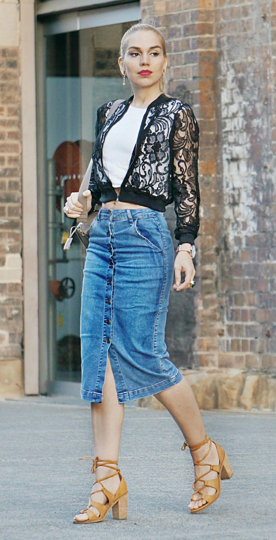 b5ce60c69cc2 Denim Midi skirt Lace bomber jacket street style smart casual