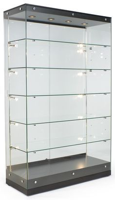 48 Trophy Display Case W Frameless Design Adjule Shelves Sliding Door Black