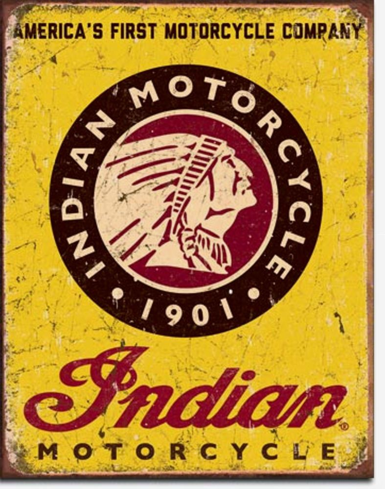 Indian Motorcycle Logo Metal Sign Tin New Vintage Style USA #1934 ...